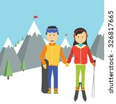 portrait of happy couple skiers ... | Shutterstock .eps vector #326817665