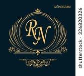 vintage vector monogram.... | Shutterstock .eps vector #326820326