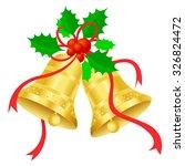 golden christmas bells with red ... | Shutterstock . vector #326824472