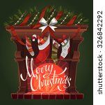 decorated fireplace. christmas...   Shutterstock .eps vector #326842292