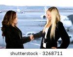 two businesswoman giving each... | Shutterstock . vector #3268711