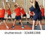 teacher taking exercise class... | Shutterstock . vector #326881388
