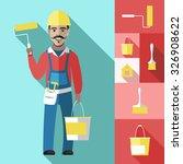 house painter flat decorative... | Shutterstock .eps vector #326908622