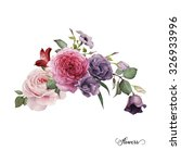 bouquet of roses  watercolor ... | Shutterstock . vector #326933996