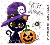Stock vector halloween illustration of cartoon cat with pumpkin on a dots background 326942336