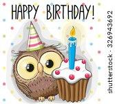 Greeting Card Cute Cartoon Owl...