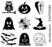 halloween icons set in black... | Shutterstock .eps vector #326950385