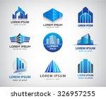 vector set of 3d blue office... | Shutterstock .eps vector #326957255