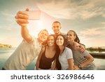 selfie of grop happiness...   Shutterstock . vector #326986646