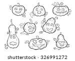 pumpkin smiles  outline  vector ... | Shutterstock .eps vector #326991272