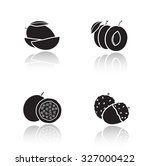 sliced fruits drop shadow icons ... | Shutterstock .eps vector #327000422