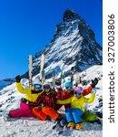 ski  winter  snow   family... | Shutterstock . vector #327003806