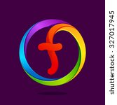 F Letter Colorful Logo In The...