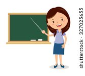 cheerful teacher on lesson.... | Shutterstock .eps vector #327025655