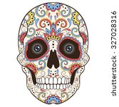 colored day of the dead sugar... | Shutterstock .eps vector #327028316