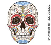 colored day of the dead sugar... | Shutterstock .eps vector #327028322