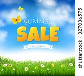 Summer Sale With Grass And...