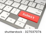 a red button submit on keyboard ... | Shutterstock . vector #327037076