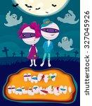 halloween poster with mummies | Shutterstock .eps vector #327045926