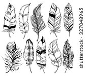 rustic decorative feathers... | Shutterstock .eps vector #327048965