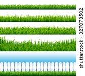 realistic grass borders  vector ... | Shutterstock .eps vector #327073502