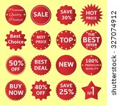 set of red badge and label.... | Shutterstock . vector #327074912