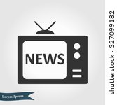 news reporter on tv. flat...   Shutterstock .eps vector #327099182