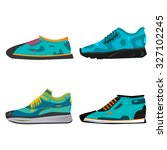 set of blue sneakers isolated... | Shutterstock .eps vector #327102245