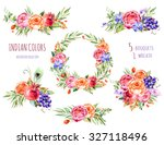colorful floral collection with ... | Shutterstock . vector #327118496