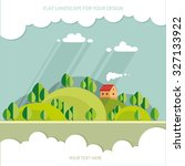 summer. eco house on the hill... | Shutterstock .eps vector #327133922