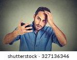 closeup portrait  shocked man... | Shutterstock . vector #327136346