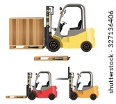 forklift with crate and pallet | Shutterstock .eps vector #327136406