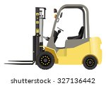 yellow forklift truck   Shutterstock .eps vector #327136442