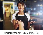 smiling waitress or small...   Shutterstock . vector #327146612