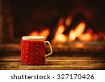 cup of hot drink in front of... | Shutterstock . vector #327170426