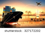 Container ship in import export ...