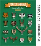 Set Of Forest Animals Faces...