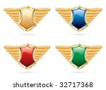 vector shields in four colors | Shutterstock .eps vector #32717368