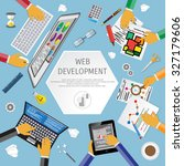 vector flat illustration of web ... | Shutterstock .eps vector #327179606