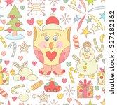 cute christmas seamless pattern ... | Shutterstock .eps vector #327182162