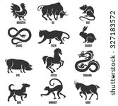 Chinese Zodiac Signs Icons Set...
