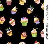 seamless pattern pixel cakes... | Shutterstock .eps vector #327186032