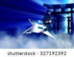ninja throwing metal star...   Shutterstock . vector #327192392