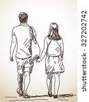walking couple back view vector ... | Shutterstock .eps vector #327202742