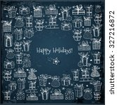 card with gift boxes on dark... | Shutterstock .eps vector #327216872