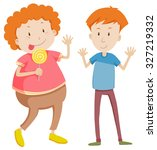 opposite adjectives thin and... | Shutterstock .eps vector #327219332