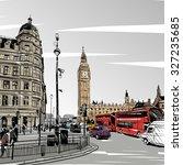 london city hand drawn  vector... | Shutterstock .eps vector #327235685