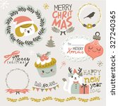 set of christmas design elements | Shutterstock .eps vector #327240365