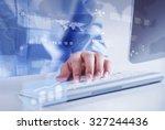 hands of businessman working... | Shutterstock . vector #327244436