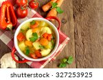 vegetable soup with ingredients ... | Shutterstock . vector #327253925